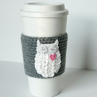 Hand crocheted coffee cosy cozy, owl always love you, starry button eyes, on a true gray sleeve, valentine gift