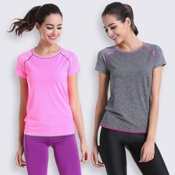 2015 Women Fitness Sports Running Shirt Workout Bodybuilding Quick Dry Tops Jogging Gym Tees Female Summer Clothes Run T-shirt