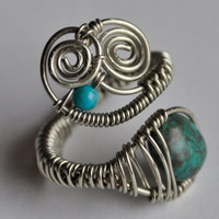 large wire wrapped ring turquoise beads by TrippiThoughtsDesign