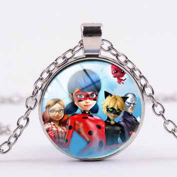 Miraculous Ladybug Cartoon Character action figurine Necklace Figure Pendant LadyBug Cat Noir necklace for kids Christmers gifts