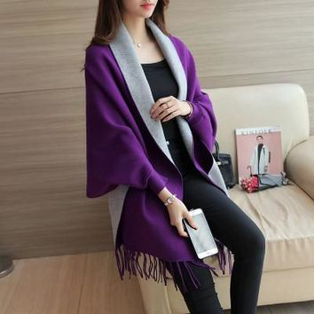 New Arrival Oversized Tassel Sweater Shawl 2017 New Brand Style Knitted Cardigans Coat Cape Poncho Women Lady