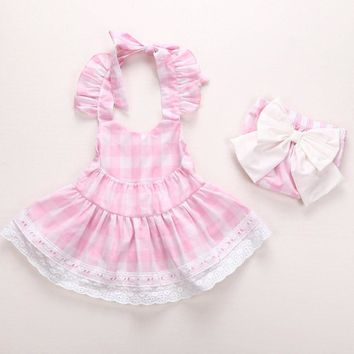 Children girls dress Summer Newborn Infant Baby Girls Princess Bowknot Lace Dress+Shorts Clothes Outfits