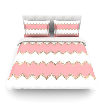 "Monika Strigel ""Avalon Coral Chevron"" White Blush Featherweight Duvet Cover"