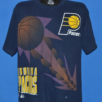 90s Indiana Pacers NBA All Over Print t-shirt Extra Large