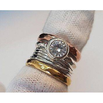 A Handmade 14K Rose & Yellow Gold Bezel Set 2CT Round Cut Lab Diamond Stackable Ring