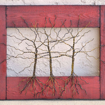 """Amy Giacomelli Original Wire Tree Abstract Sculpture ... Wire tree on distressed salvaged frame... 15"""" x 15"""""""