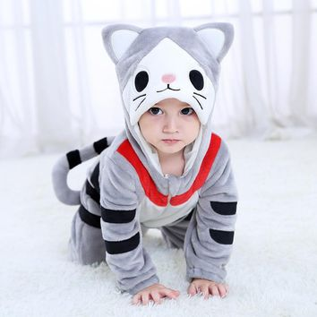 2018 New Newborn Baby Flannel Dress Boys Girls Jumpsuit Hoodie Romper Costume For Kids Onesuit Animal Halloween carnival Cosplay