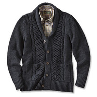 Black-and-Blue Shawl Cardigan