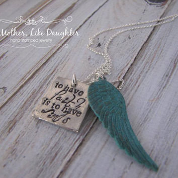 Hand Stamped Necklace - To Have Faith Is To Have Wings - with Blue Wing Charm - Pewter Square