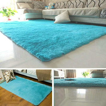 Fluffy Rugs Anti-Skiding Shaggy Area Rug Dining Rooms Carpet Floor Mats Blue shaggy rugs shag rugs A609