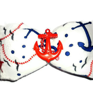 Huge Nautical  Sailor Hair Bow by DeathwishDesign on Etsy