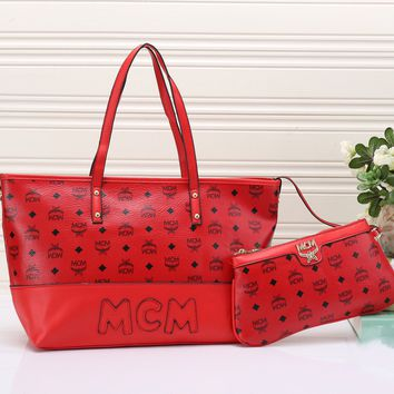 MCM Women Fashion Handbag Tote Shoulder Bag Purse Wallet Set Two-Piece