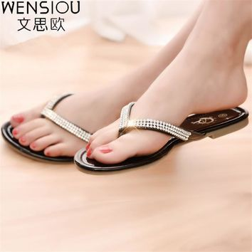 Hot sale women flip flop women shoes fashion rhinestone flat sandals ladies shoes glad