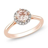 6.0mm Pink Morganite and Diamond Accent Frame Ring in 10K Rose Gold