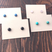 Small Gemstone Stud Earrings with Hypoallergenic posts / Turquoise / Black Onyx / Denim Lapis