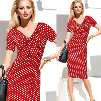 Red Polka Dot V-neck Midi Bodycon Pencil Dress