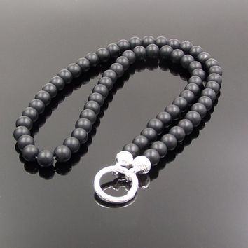 Thomas Style Black Matte Obsidian Beads Necklace for Pendant European Cool Men Jewelry Sporty Untuk