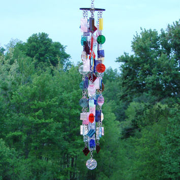 Geometry - Stained Glass - Colored Glass - Wind Chimes - Sun Catcher - OOAK