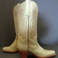 FRYE Vintage Off White Leather Cowgirl Cowboy Western Riding Boots Women's Size 6.5