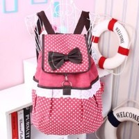 ZLYC Super Cute Lace Canvas Bowknot School Backpack (red)
