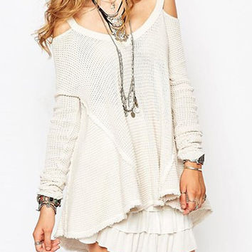 White Long Sleeve Cut Out Flounce Sweater