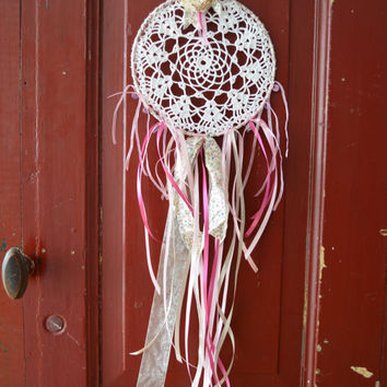 A vintage lace doily dream catcher in Pink, Purple and White shades --- A vintage elegant touch or an special present