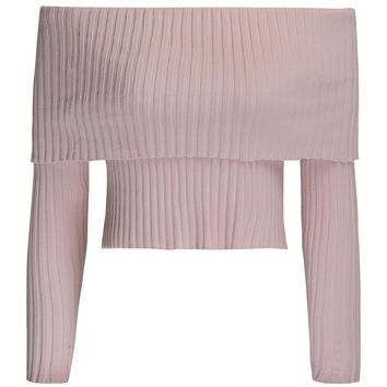 Pink Off Shoulder Knit Sweater