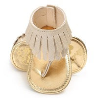 Baby Girl T-Style Fringe Moccasin Sandals
