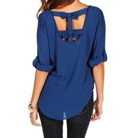 Royal Double Bow Back Top