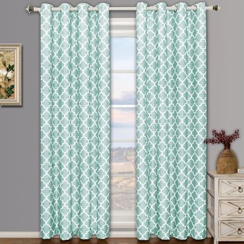 Teal-Blue Meridian Thermal Insulated Room Darkening Window Curtain Panels (Two Panels )