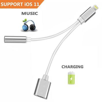 2 in 1 Lightning for iPhone 8/7/6 Adapter. iPhone Converter Lightning Charging Cable 3.5mm Aux Headphone Jack adaptor - Charging Port Adapter -Compatible with iOS 10.3&iOS11 or Later