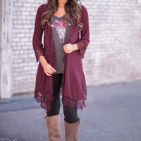 Run This Town Crochet 3/4 Sleeve Cardigan (Wine)
