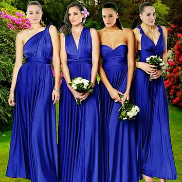 2018 Summer Sexy Royal Blue Multiway Bridesmaids Convertible Dress Sexy Women Wrap Maxi Dress   Long Dress s robe longue femme
