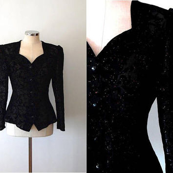 Black rainbow sparkle jacket / vintage / 1940s style / puff sleeve / fitted / retro / 80s / button up / flocked velvet / floral jacket