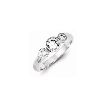 Sterling Silver Rhodium Plated CZ 3 Stone Engagement Ring