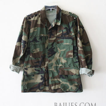 Awesome Camouflage Spiked Studded Army Jacket