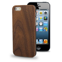 Walnut Wood Material Plastic Protection Case for iPhone 5 & 5s & SE