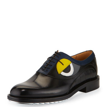 Monster-Eye Leather Silver-Bottom Lace-Up Derby Shoe, Black