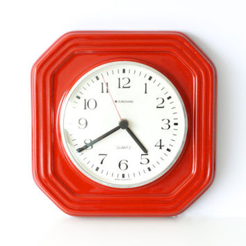 JUNGHANS WALL CLOCK, Bright Red Ceramic, Made in Germany 1970s, Retro Kitchen, West German Pottery, Modern Vintage