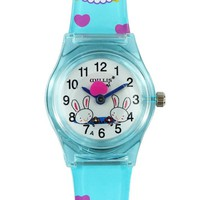 Willis Plastic Quartz Watch with Bunny Prints For Kids Color Blue