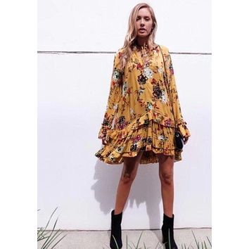 Woman 2017 New Boho Style Mustard Yellow Floral Printed Loose MINI DRESS Layered Ruffles Hem Frills Collar Front Buttons up