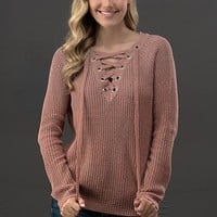 Sweet Heart Sweater- Mauve