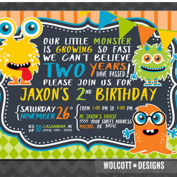 Little Monster Birthday Invitation, Boy or Girl Birthday Party Invitation, Toddler Monster Invite, Printable, Digital, 1st 2nd 3rd