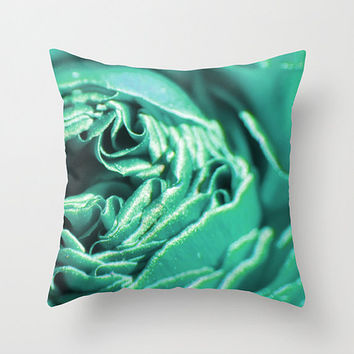Teal pillow, teal cushion, teal decor, teal flower, throw pillow, teal accent pillow, scatter cushion, pillow cover, cushion cover