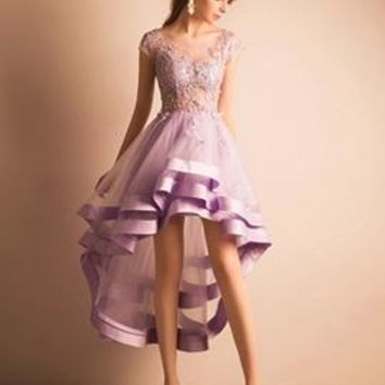 Purple V-neck Lace Appliquqe Homecoming Dresses,short Sleeve High Low tulle Homecoming Dress