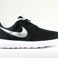 Nike Kid's Roshe Run PS Black Metallic Silver