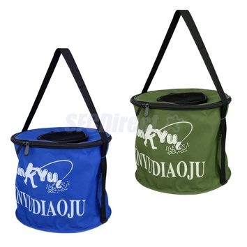 Oxford Cloth Portable Round Fish Bucket Tackle Box Water Container Pail for Fishing Camping Travel Gardening Color Random