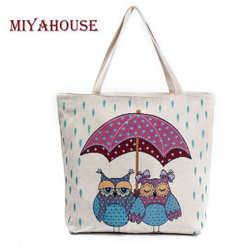 Miyahouse Summer Beach Bag Women Large Capacity Shopping Bag Handbag Female Cute Owl Print Canvas Shoulder Bag Lady Casual Totes