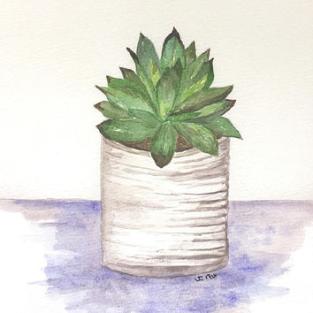 Watercolor Succulent painting, cactus print, Kitchen artwork, Watercolor original Plant painting, nature print, Kitchen decor
