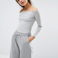 ASOS PETITE Long Sleeve Off Shoulder Top in Rib at asos.com